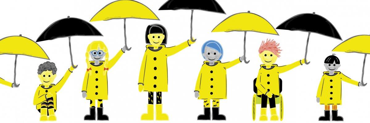 ihmisiä sateenvarjojen kanssa