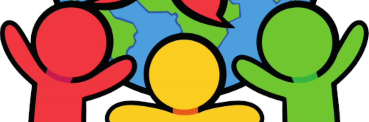 Pinskujen logo jossa maapallo ja pinskuhahmot