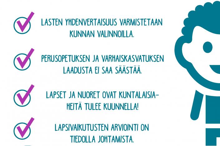 kampanjan tavoitteet graafisesti esitettynä sivussa graafinen lapsihahmo