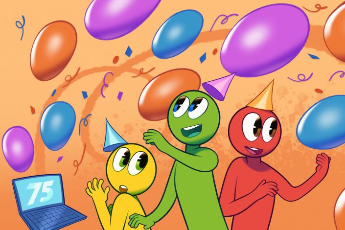 Pinskuhahmot juhlivat