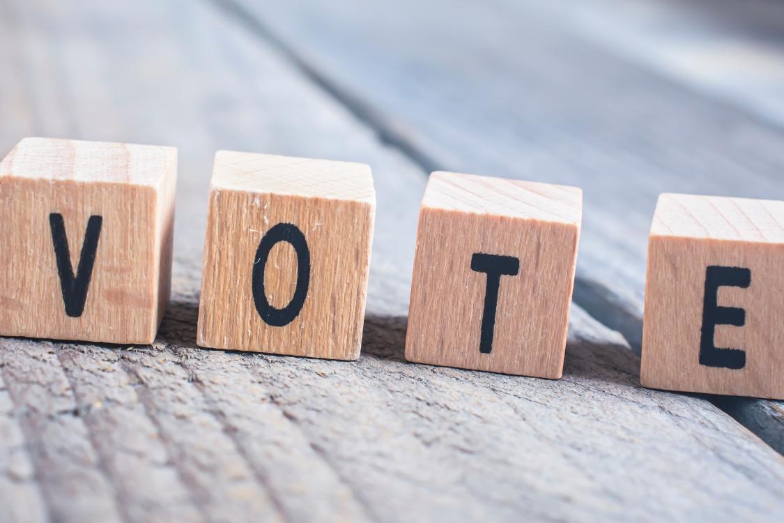 """Palikat joissa lukee """"VOTE""""."""